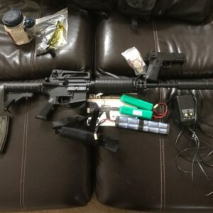 KWA KM4 adjustable stock, upgraded barrel, silencer, 3 mags 2 are quick loads, single shot side arm, elite bbs, charger, 1 4200mha batter and 1 2200, and rifle bag.and superlipo alarm.